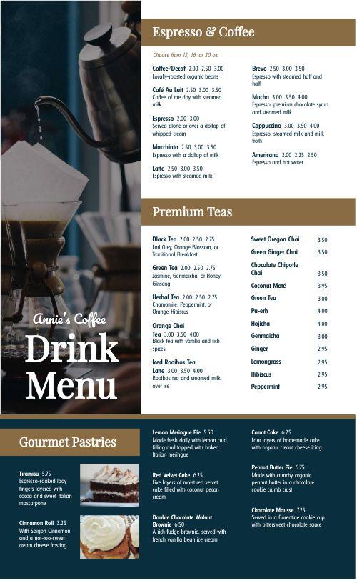 disposable menu