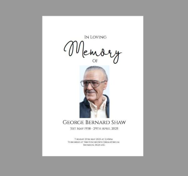 Funeral Order of Service Booklet